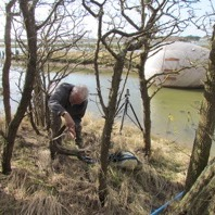 Stephen Turner foraging in and around the Exbury Egg in Exbury, Hampshire, 2014 Photo: Julie Turner