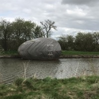 Exbury Egg on new temporary location on Grand Union Canal, Milton Keynes, March 2017