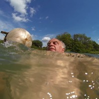 Stephen Turner, Swimming with Egg (selfie), Exbury, 2014