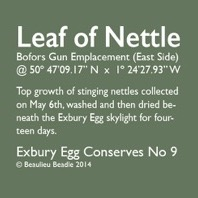 Stephen Turner, Label for Nettle Conserve, 2014